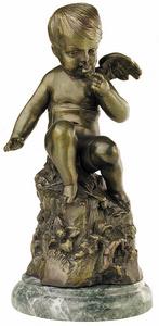 D.166fm - Puttó fiú, sziklán ülő, márványon